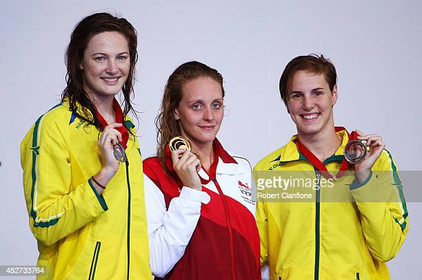 Gold medallist Francesca Halsall of England poses with silver medallist Cate Campbell of Australia and bronze medallist Bronte Campbell of Australia...