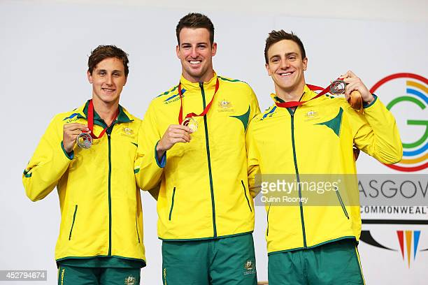 Gold medallist James Magnussen of Australia poses with silver medallist Cameron McEvoy of Australia and bronze medallist Tommaso D'Orsogna of...
