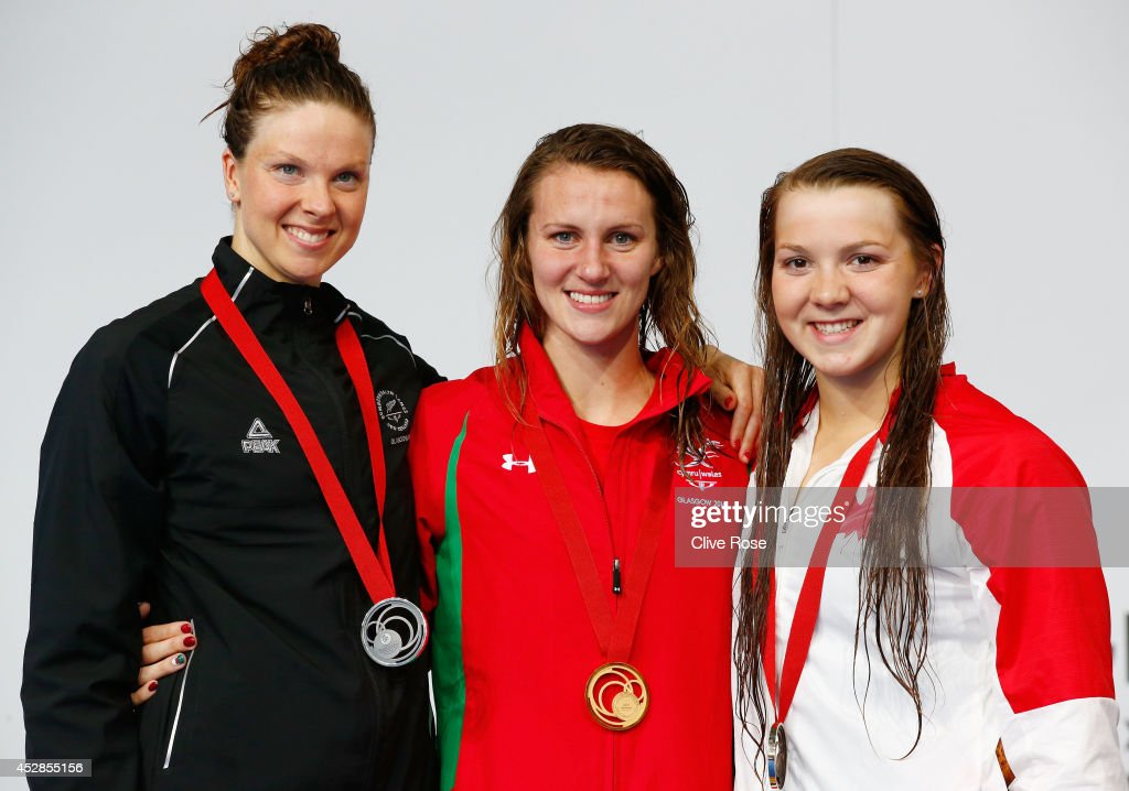 Gold medallist Jazz Carlin of Wales poses with silver medallist Lauren Boyle of New Zealand and bronze medallist Brittany Maclean of Canada during...