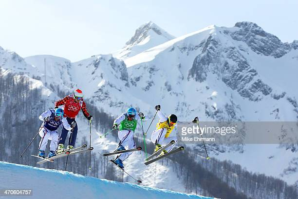 Gold medallist Jean Frederic Chapuis of France leads from silver medallist Arnaud Bovolenta of France Brady Leman of Canada and bronze medallist...