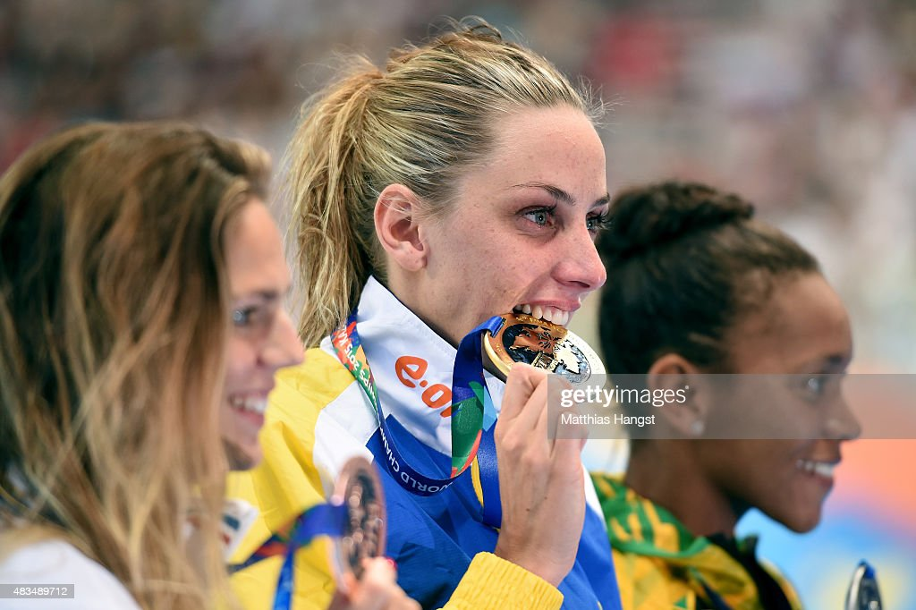 Gold medallist Jennie Johansson of Sweden poses with silver medallist <a gi-track='captionPersonalityLinkClicked' href=/galleries/search?phrase=Alia+Atkinson&family=editorial&specificpeople=881789 ng-click='$event.stopPropagation()'>Alia Atkinson</a> of Jamaica and bronze medallist Yuliya Efimova of Russia during the medal ceremony for the Women's 50m Breaststroke Final on day sixteen of the 16th FINA World Championships at the Kazan Arena on August 9, 2015 in Kazan, Russia.