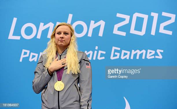 Gold medallist Jessica Long of the United States poses on the podium during the medal ceremony for the Women's 100m Freestyle S8 final on day 8 of...