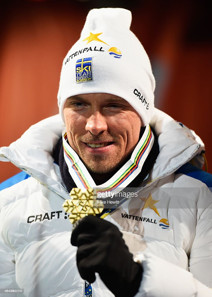 Gold medallist <a gi-track='captionPersonalityLinkClicked' href=/galleries/search?phrase=Johan+Olsson&family=editorial&specificpeople=724246 ng-click='$event.stopPropagation()'>Johan Olsson</a> of Sweden poses during the medal ceremony for the Men's 15km Cross-Country during the FIS Nordic World Ski Championships at the Lugnet venue on February 25, 2015 in Falun, Sweden.