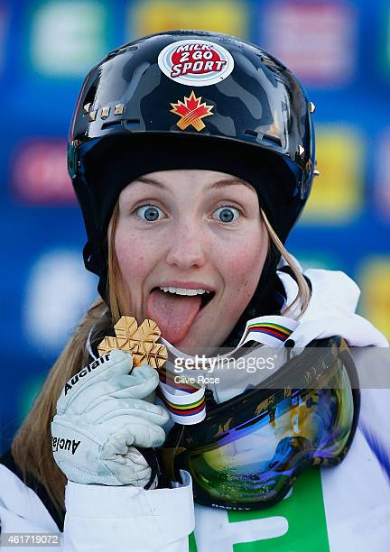 Gold medallist Justine DufourLapointe of Canada celebrates victory during the medal ceremony for the Women's Moguls Final of the FIS Freestyle Ski...