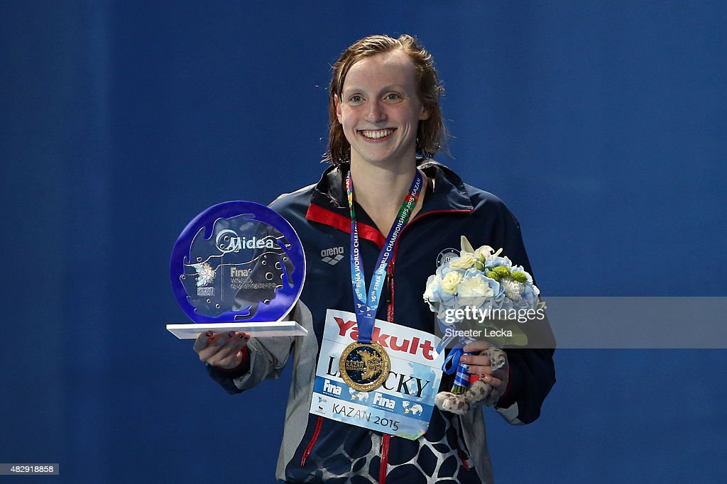 Gold medallist <a gi-track='captionPersonalityLinkClicked' href=/galleries/search?phrase=Katie+Ledecky&family=editorial&specificpeople=9595921 ng-click='$event.stopPropagation()'>Katie Ledecky</a> of the United States poses during the medal ceremony for the Women's 1500m Freestyle Final on day eleven of the 16th FINA World Championships at the Kazan Arena on August 4, 2015 in Kazan, Russia.