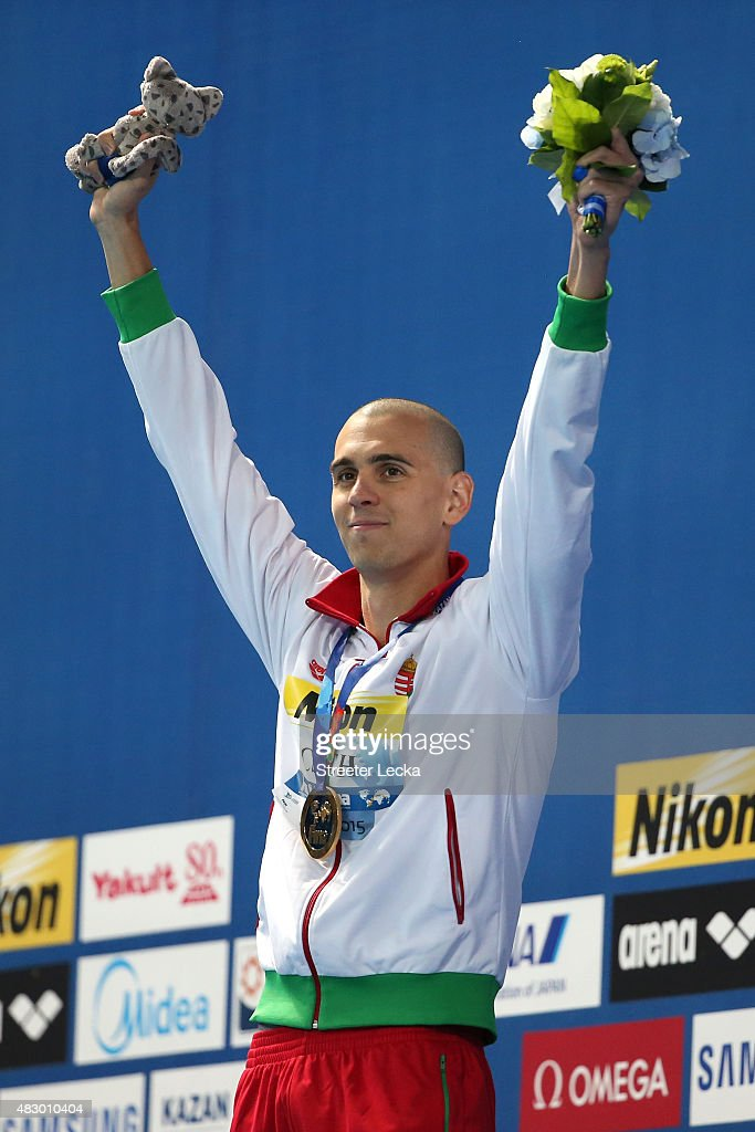 Gold medallist <a gi-track='captionPersonalityLinkClicked' href=/galleries/search?phrase=Laszlo+Cseh&family=editorial&specificpeople=873105 ng-click='$event.stopPropagation()'>Laszlo Cseh</a> of Hungary celebrates during the medal ceremony for the Men's 200m Butterfly Final on day twelve of the 16th FINA World Championships at the Kazan Arena on August 5, 2015 in Kazan, Russia.