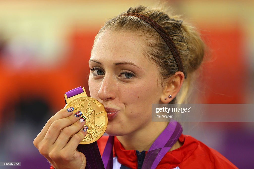 Gold medallist Laura Trott of Great Britain celebrates during the medal ceremony for the Women's Omnium Track Cycling on Day 11 of the London 2012...