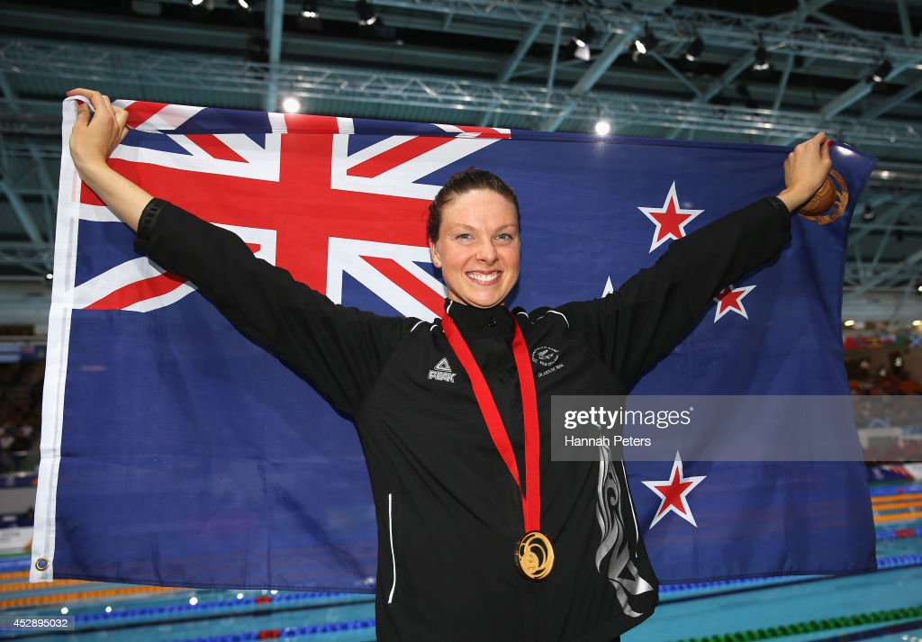 Gold medallist Lauren Boyle of New Zealand poses after the medal ceremony for the Women's 400m Freestyle Final at Tollcross International Swimming...