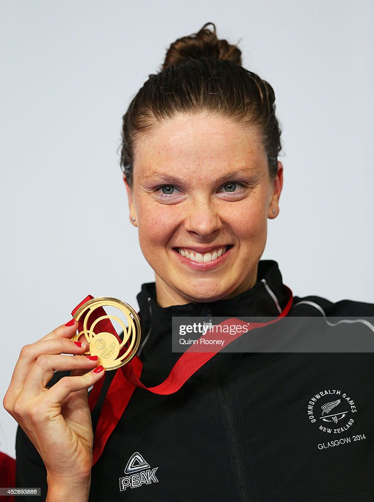 Gold medallist Lauren Boyle of New Zealand poses during the medal ceremony for the Women's 400m Freestyle Final at Tollcross International Swimming...