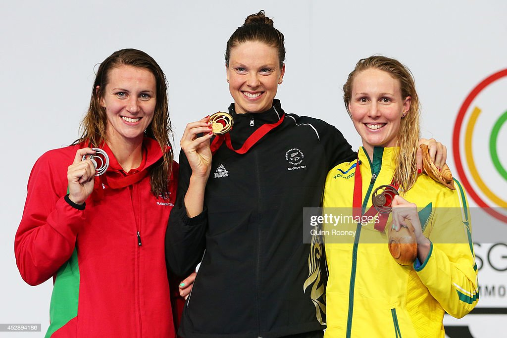 Gold medallist Lauren Boyle of New Zealand poses with silver medallist Jazz Carlin of Wales and bronze medallist Bronte Barratt of Australia during...