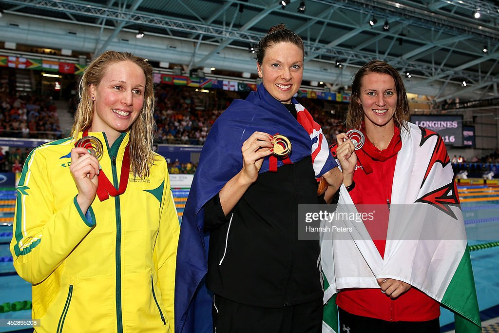 Gold medallist Lauren Boyle of New Zealand poses with silver medallist Jazz Carlin of Wales and bronze medallist Bronte Barratt of Australia after...