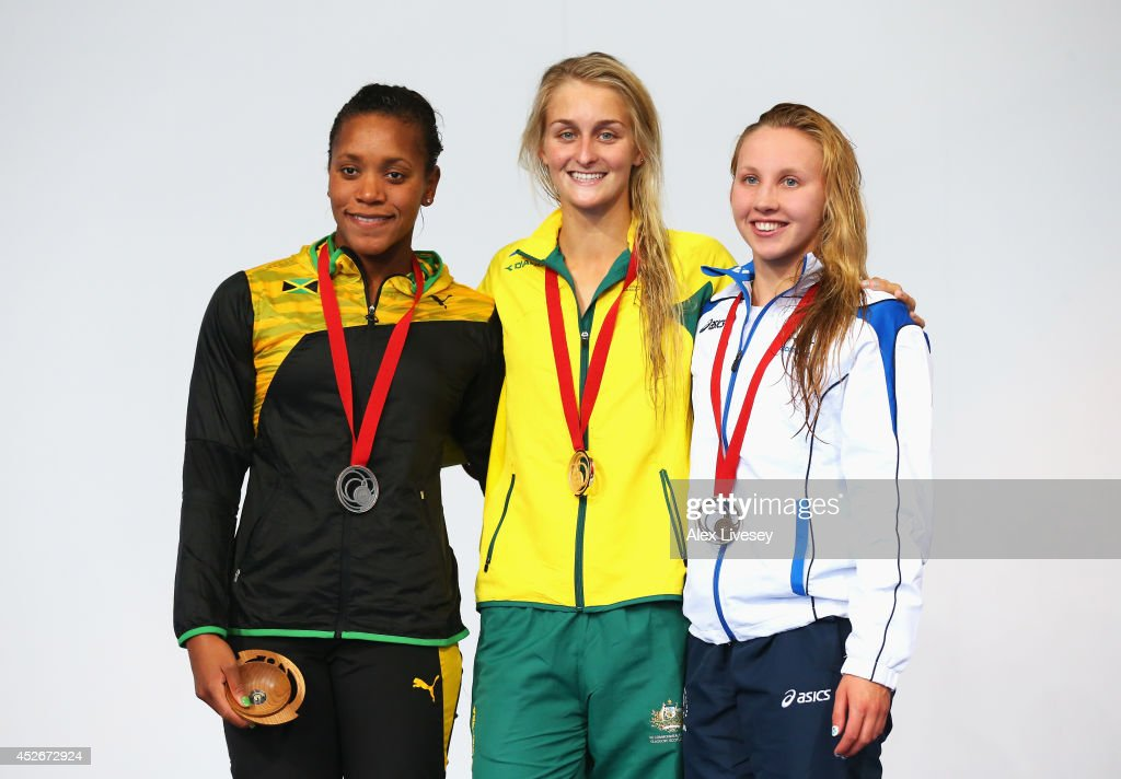Gold medallist Leiston Pickett of Australia poses with silver medallist Alia Atkinson of Jamaica and bronze medallist Corrie Scott of Scotland during the medal ceremony for the Women's 50m Breaststroke Final at Tollcross International Swimming Centre during day two of the Glasgow 2014 Commonwealth Games on July 25, 2014 in Glasgow, Scotland.