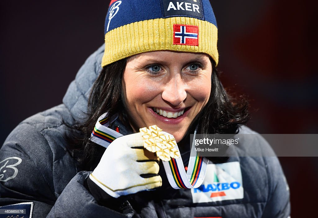 Gold medallist Marit Bjoergen of Norway poses with her medal during the medal ceremony for the Women's Cross-Country Sprint during the FIS Nordic World Ski Championships at the Lugnet venue on February 19, 2015 in Falun, Sweden.