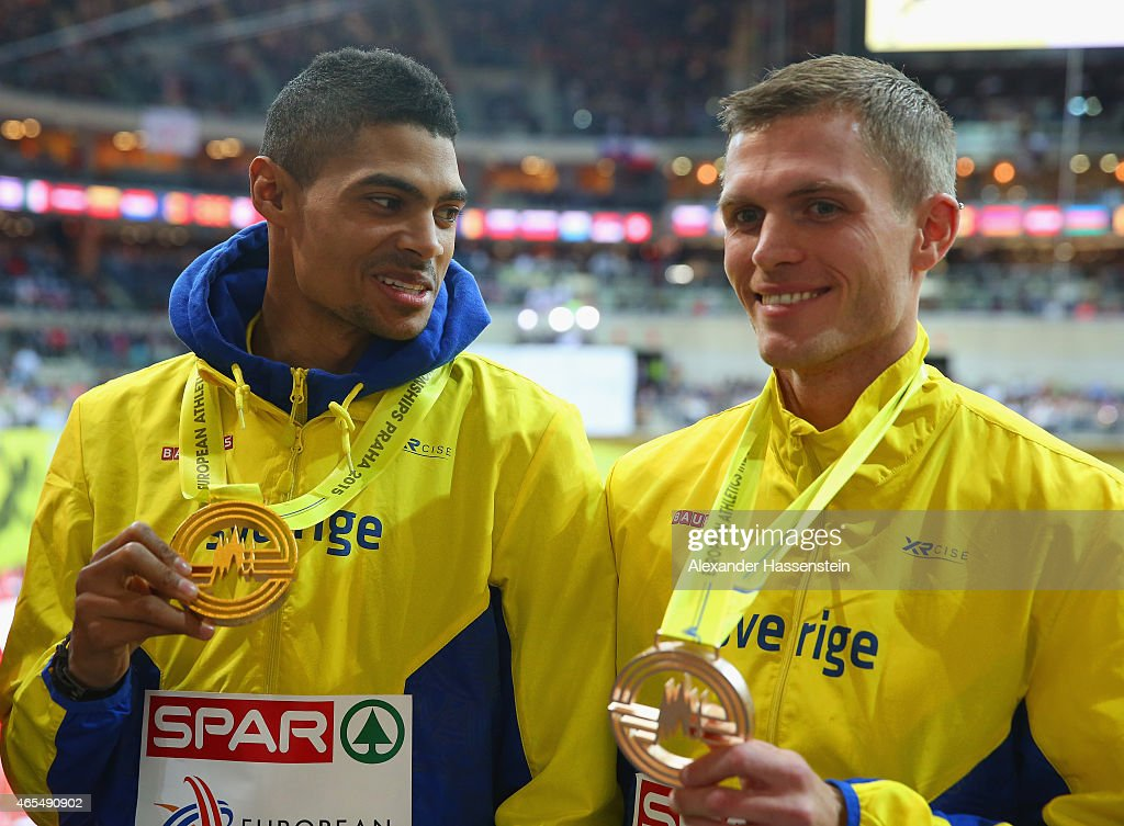 Gold medallist Michel Torneus of Sweden Bronze medalist Andreas Otterling of Sweden pose on the podium during the medal ceremony for the Men's Long Jump during day two of the 2015 European Athletics Indoor Championships at O2 Arena on March 7, 2015 in Prague, Czech Republic.