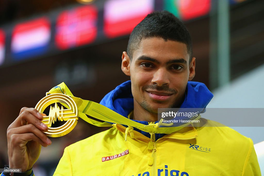 Gold medallist Michel Torneus of Sweden poses on the podium during the medal ceremony for the Men's Long Jump during day two of the 2015 European Athletics Indoor Championships at O2 Arena on March 7, 2015 in Prague, Czech Republic.