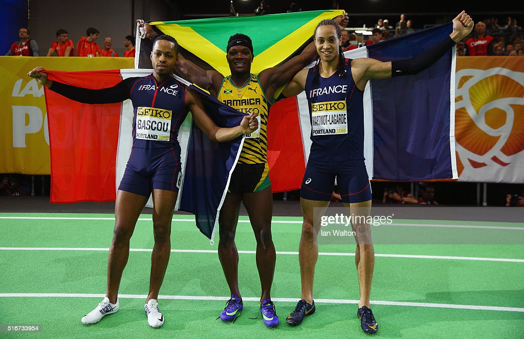 Gold medallist Omar Mcleod of Jamaica (C), silver medallist <a gi-track='captionPersonalityLinkClicked' href=/galleries/search?phrase=Pascal+Martinot-Lagarde&family=editorial&specificpeople=7114926 ng-click='$event.stopPropagation()'>Pascal Martinot-Lagarde</a> of France and bronze medallist <a gi-track='captionPersonalityLinkClicked' href=/galleries/search?phrase=Dimitri+Bascou&family=editorial&specificpeople=5949069 ng-click='$event.stopPropagation()'>Dimitri Bascou</a> of France (R) pose after the Men's 60 Metres Hurdles Final during day four of the IAAF World Indoor Championships at Oregon Convention Center on March 20, 2016 in Portland, Oregon.