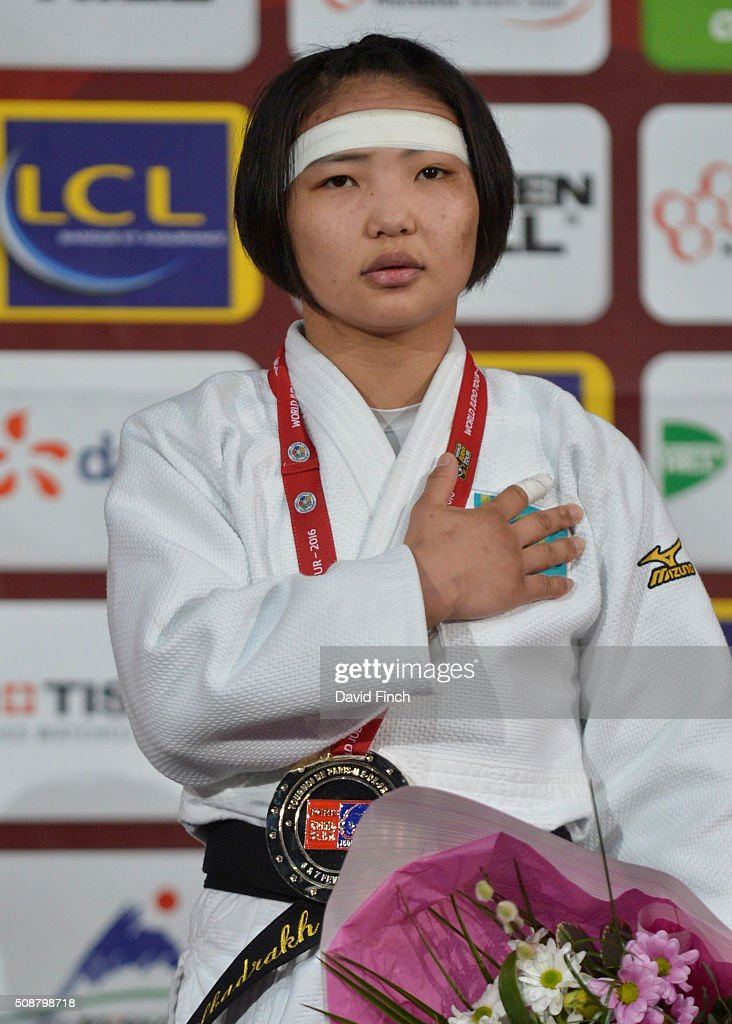 Gold medallist Otgontsetseg Galbadrakh of Kazakhstan stands respectfully during the u48kg medal ceremony at the 2016 Paris Judo Grand Slam on...