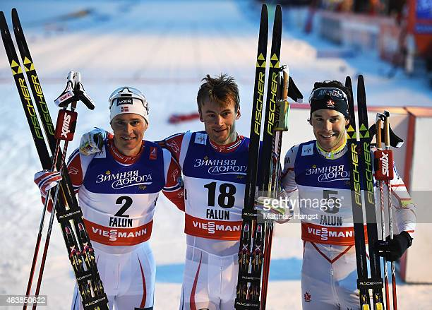 Gold medallist Petter Jr Northug of Norway poses with silver medallist Alex Harvey of Canada and bronze medallist Ola Vigen Hattestad of Norway after...