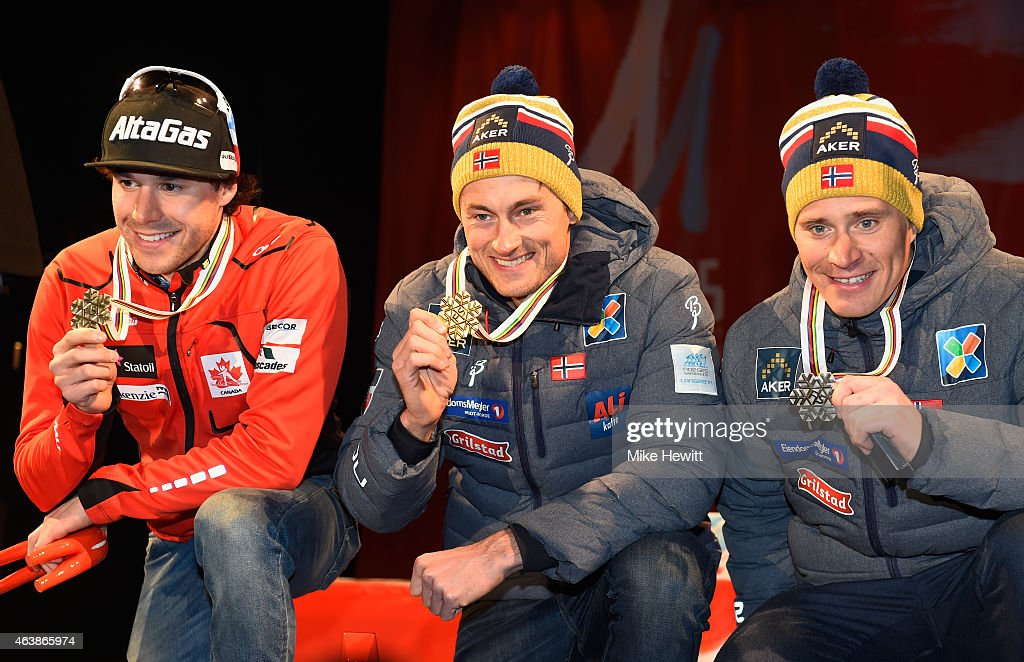 Gold medallist Petter Jr. Northug (C) of Norway poses with silver medallist <a gi-track='captionPersonalityLinkClicked' href=/galleries/search?phrase=Alex+Harvey+-+Skier&family=editorial&specificpeople=6719953 ng-click='$event.stopPropagation()'>Alex Harvey</a> (L) of Canada and bronze medallist <a gi-track='captionPersonalityLinkClicked' href=/galleries/search?phrase=Ola+Vigen+Hattestad&family=editorial&specificpeople=870030 ng-click='$event.stopPropagation()'>Ola Vigen Hattestad</a> of Norway during the medal ceremony for the Men's Cross-Country Sprint during the FIS Nordic World Ski Championships at the Lugnet venue on February 19, 2015 in Falun, Sweden.