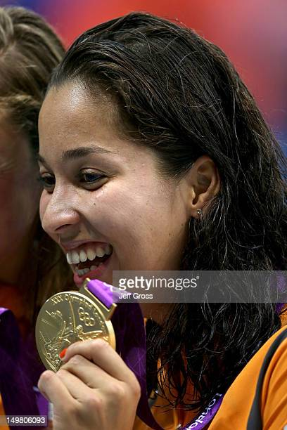 Gold medallist Ranomi Kromowidjojo of Netherlands poses following the medal ceremony for the Women's 50m Freestyle Final on Day 8 of the London 2012...
