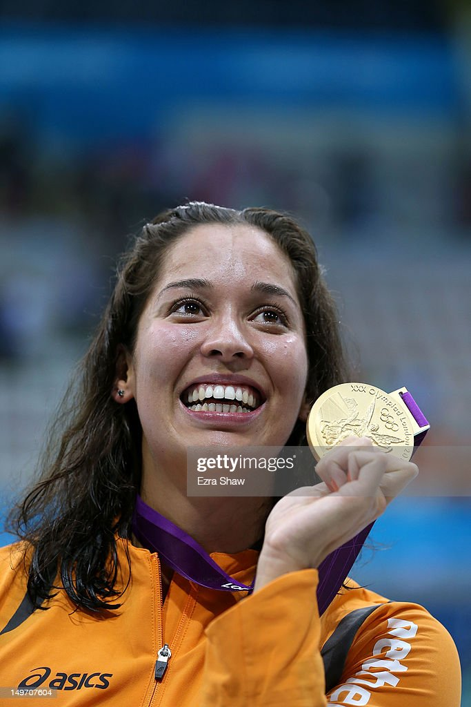 Gold medallist Ranomi Kromowidjojo of the Netherlands celebrates with the medal won in the Women's 100m Freestyle Final on Day 6 of the London 2012 Olympic Games at the Aquatics Centre on August 2, 2012 in London, England.