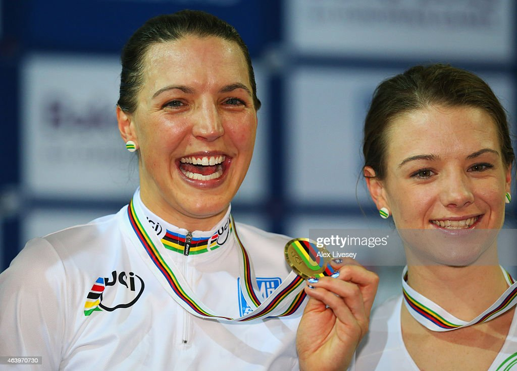 Gold medallist <a gi-track='captionPersonalityLinkClicked' href=/galleries/search?phrase=Rebecca+Wiasak&family=editorial&specificpeople=11565911 ng-click='$event.stopPropagation()'>Rebecca Wiasak</a> of Australia and bronze medallist <a gi-track='captionPersonalityLinkClicked' href=/galleries/search?phrase=Amy+Cure&family=editorial&specificpeople=5663459 ng-click='$event.stopPropagation()'>Amy Cure</a> of Australia stand on the podium during the medal ceremony for the Women's Individual Pursuit Final on Day Three of the UCI Track Cycling World Championships at National Velodrome on February 20, 2015 in Paris, France.