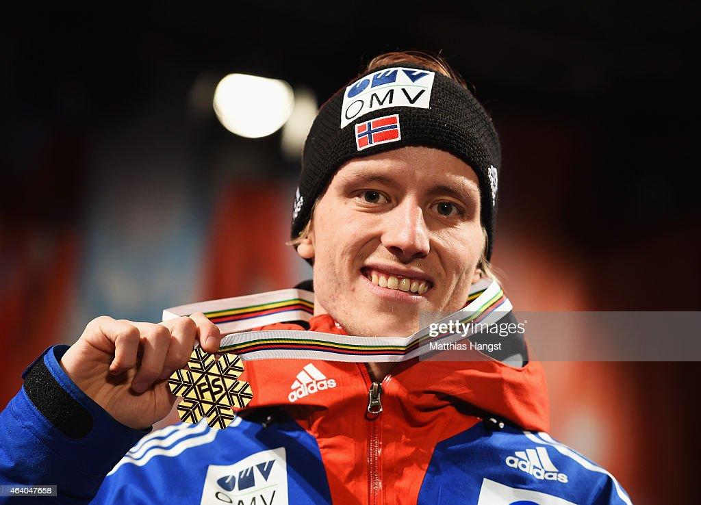 Gold medallist <a gi-track='captionPersonalityLinkClicked' href=/galleries/search?phrase=Rune+Velta&family=editorial&specificpeople=6845746 ng-click='$event.stopPropagation()'>Rune Velta</a> of Norway poses with his medal during the medal ceremony for the Men's HS100 Normal Hill Ski Jumping during the FIS Nordic World Ski Championships at the Lugnet venue on February 21, 2015 in Falun, Sweden.