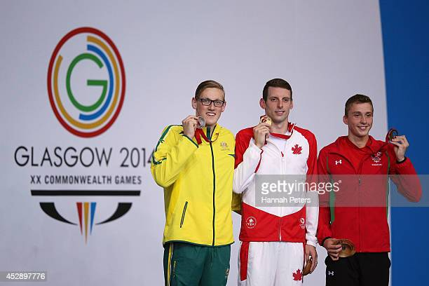 Gold medallist Ryan Cochrane of Canada poses with silver medallist Mack Horton of Australia and bronze medallist Daniel Jervis of Wales during the...