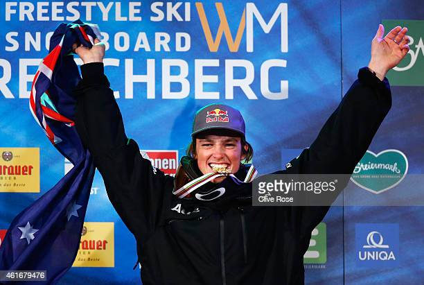 Gold medallist Scotty James of Australia celebrates victory during the medal ceremony for the Men's Halfpipe Final of the FIS Freestyle Ski and...