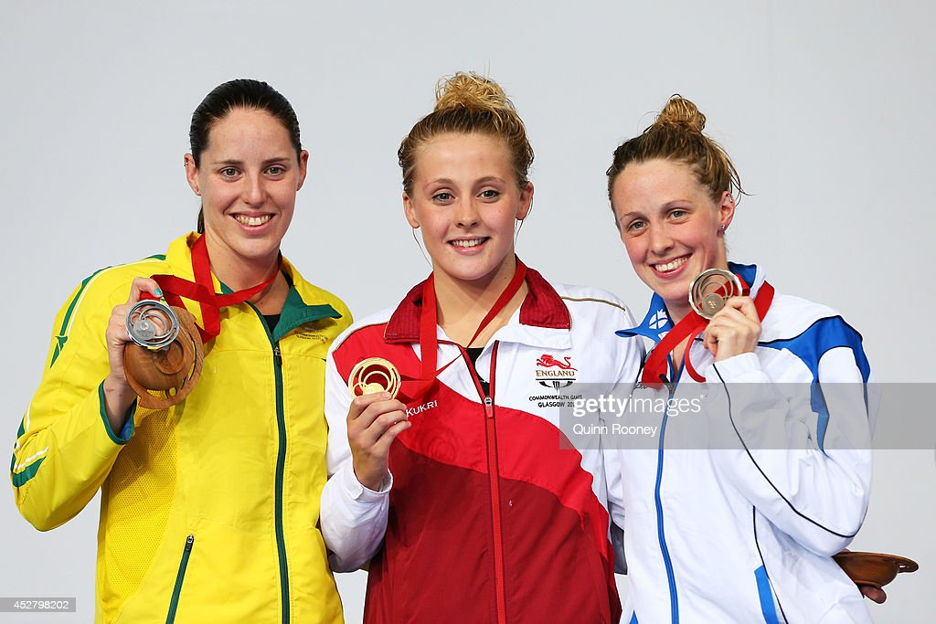 Gold medallist Siobhan O'Connor of England poses with silver medallist Alicia Coutts of Australia and bronze medallist Hannah Miley of Scotland during the medal ceremony for the Women's 200m Individual Medley Final at Tollcross International Swimming Centre during day four of the Glasgow 2014 Commonwealth Games on July 27, 2014 in Glasgow, Scotland.