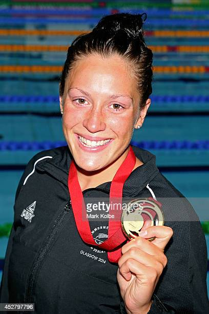 Gold medallist Sophie Pascoe of New Zealand poses after the medal ceremony for the Women's 100m Breaststroke SB9 Final at Tollcross International...