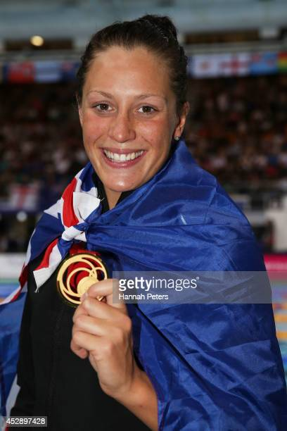 Gold medallist Sophie Pascoe of New Zealand poses after the medal ceremony for the Women's 200m Individual Medley SM10 Final at Tollcross...