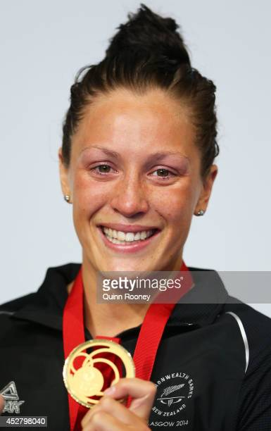 Gold medallist Sophie Pascoe of New Zealand poses during the medal ceremony for the Women's 100m Breaststroke SB9 Final at Tollcross International...
