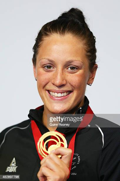 Gold medallist Sophie Pascoe of New Zealand poses during the medal ceremony for the Women's 200m Individual Medley SM10 Final at Tollcross...