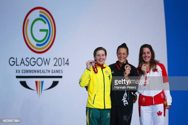 Gold medallist Sophie Pascoe of New Zealand poses with silver medallist Katherine Downie of Australia and bronze medallist Aurelie Rivard of Canada...