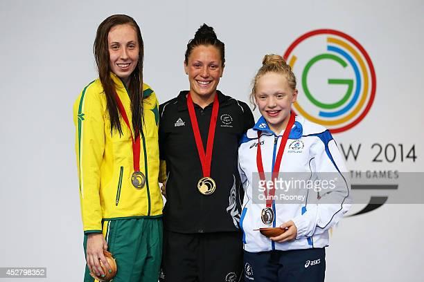 Gold medallist Sophie Pascoe of New Zealand poses with silver medallist Madeleine Scott of Australia and bronze medallist Erraid Davies of Scotland...