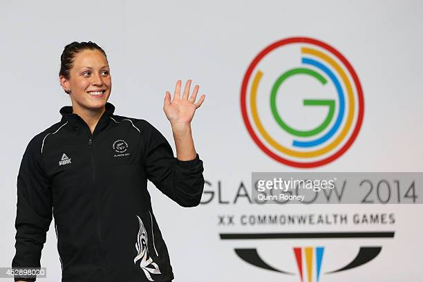 Gold medallist Sophie Pascoe of New Zealand stands on the podium during the medal ceremony for the Women's 200m Individual Medley SM10 Final at...