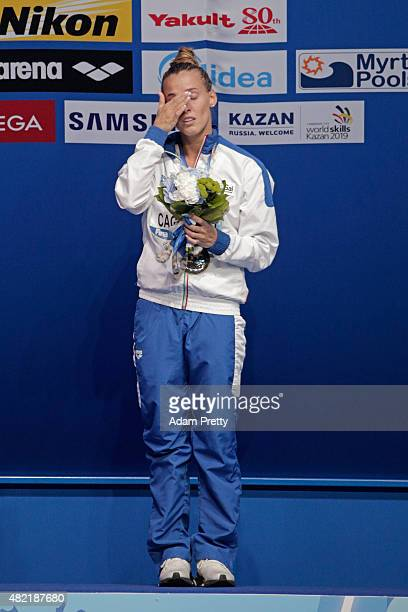 Gold medallist Tania Cagnotto of Italy reacts during the medal ceremony for the Women's 1m Springboard Diving Final on day four of the 16th FINA...