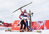 Gold medallist Therese Johaug of Norway celebrates with silver medallist Marit Bjoergen of Norway and bronze medallist Charlotte Kalla of Sweden...