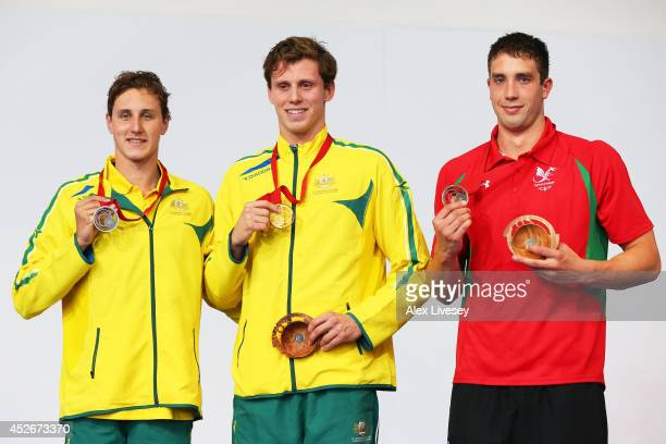 Gold medallist Thomas FraserHolmes of Australia poses with silver medallist Cameron McEvoy of Australia and bronze medallist Calum Jarvis of Wales...