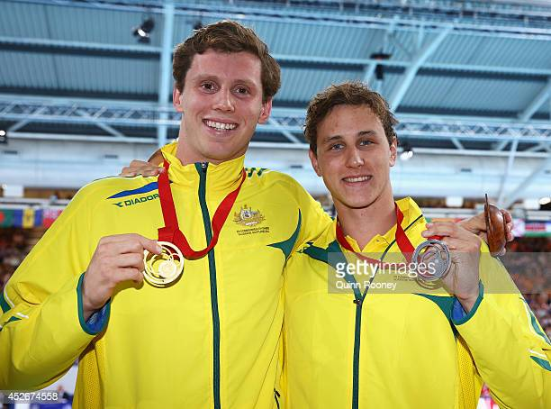 Gold medallist Thomas FraserHolmes of Australia poses with silver medallist Cameron McEvoy of Australia after the Men's 200m Freestyle Final at...