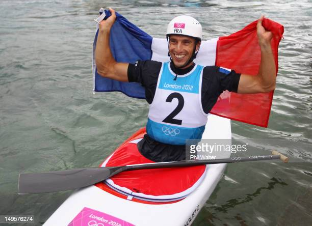 Gold medallist Tony Estanguet of France celebrates after competing in the Men's Canoe Single Slalom final on Day 4 of the London 2012 Olympic Games...
