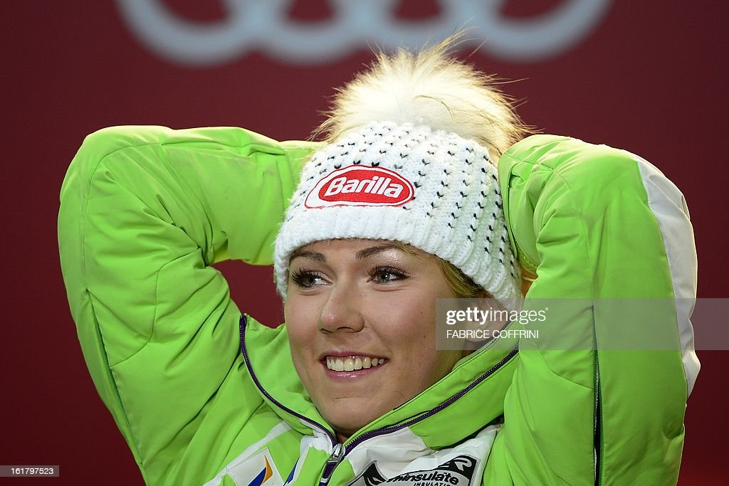 Gold medallist US Mikaela Shiffrin poses during the medal awards ceremony after the women's slalom at the 2013 Ski World Championships in Schladming, Austria on February 16, 2013.