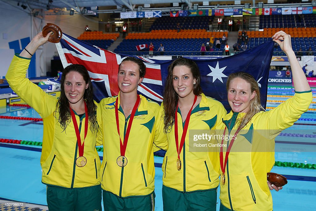 Gold medallists Alicia Coutts, Emma McKeon, Brittany Elmslie and Bronte Barratt of Australia pose after the medal ceremony for the Women's 4 x 200m Freestyle Relay Final at Tollcross International Swimming Centre during day three of the Glasgow 2014 Commonwealth Games on July 26, 2014 in Glasgow, Scotland.