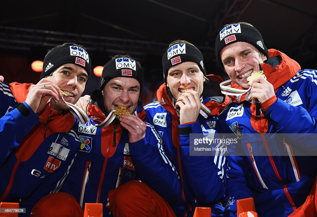 Gold medallists <a gi-track='captionPersonalityLinkClicked' href=/galleries/search?phrase=Anders+Bardal&family=editorial&specificpeople=2146620 ng-click='$event.stopPropagation()'>Anders Bardal</a>, <a gi-track='captionPersonalityLinkClicked' href=/galleries/search?phrase=Anders+Jacobsen+-+Ski+Jumper&family=editorial&specificpeople=12186216 ng-click='$event.stopPropagation()'>Anders Jacobsen</a>, <a gi-track='captionPersonalityLinkClicked' href=/galleries/search?phrase=Rune+Velta&family=editorial&specificpeople=6845746 ng-click='$event.stopPropagation()'>Rune Velta</a> and <a gi-track='captionPersonalityLinkClicked' href=/galleries/search?phrase=Anders+Fannemel&family=editorial&specificpeople=8824878 ng-click='$event.stopPropagation()'>Anders Fannemel</a> of Norway pose during the medal ceremony for the Men's Team HS134 Large Hill Ski Jumping during the FIS Nordic World Ski Championships at the Lugnet venue on February 28, 2015 in Falun, Sweden.