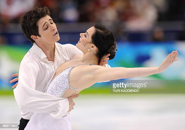 Gold medallists Canada's Tessa Virtue and Scott Moir perform in the Ice Dance Free program at the Pacific Coliseum in Vancouver during the 2010...