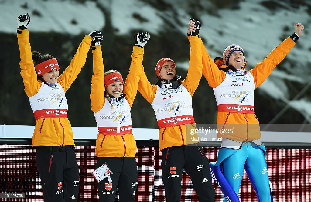 Gold medallists <a gi-track='captionPersonalityLinkClicked' href=/galleries/search?phrase=Carina+Vogt&family=editorial&specificpeople=4596006 ng-click='$event.stopPropagation()'>Carina Vogt</a>, <a gi-track='captionPersonalityLinkClicked' href=/galleries/search?phrase=Katharina+Althaus+-+Ski+Jumper&family=editorial&specificpeople=12438552 ng-click='$event.stopPropagation()'>Katharina Althaus</a>, <a gi-track='captionPersonalityLinkClicked' href=/galleries/search?phrase=Richard+Freitag&family=editorial&specificpeople=7295708 ng-click='$event.stopPropagation()'>Richard Freitag</a> and <a gi-track='captionPersonalityLinkClicked' href=/galleries/search?phrase=Severin+Freund&family=editorial&specificpeople=4780594 ng-click='$event.stopPropagation()'>Severin Freund</a> of Germany celebrate after the Mixed Team HS100 Normal Hill Ski Jumping during the FIS Nordic World Ski Championships at the Lugnet venue on February 22, 2015 in Falun, Sweden.
