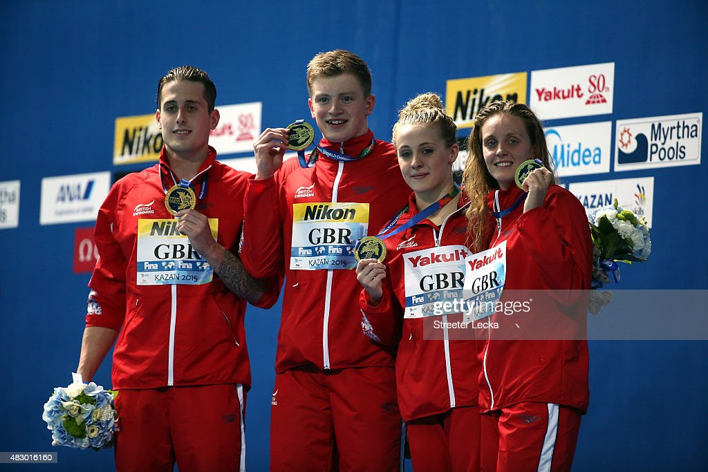Gold medallists (L-R) <a gi-track='captionPersonalityLinkClicked' href=/galleries/search?phrase=Chris+Walker-Hebborn&family=editorial&specificpeople=5538976 ng-click='$event.stopPropagation()'>Chris Walker-Hebborn</a>, <a gi-track='captionPersonalityLinkClicked' href=/galleries/search?phrase=Adam+Peaty&family=editorial&specificpeople=11074368 ng-click='$event.stopPropagation()'>Adam Peaty</a>, <a gi-track='captionPersonalityLinkClicked' href=/galleries/search?phrase=Siobhan-Marie+O%27Connor&family=editorial&specificpeople=7922917 ng-click='$event.stopPropagation()'>Siobhan-Marie O'Connor</a> and Fran Halsall of Great Britain pose during the medal ceremony for the Mixed 4x100m Medley Relay Final on day twelve of the 16th FINA World Championships at the Kazan Arena on August 5, 2015 in Kazan, Russia.