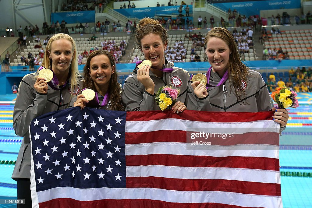 Gold medallists Dana Volmer Rebecca Soni Allison Schmitt and Missy Franklin of the United States pose following the medal ceremony for the Women's...