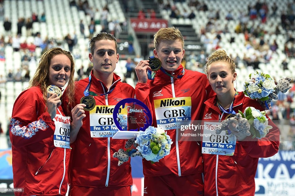 Gold medallists (L-R) Fran Halsall, <a gi-track='captionPersonalityLinkClicked' href=/galleries/search?phrase=Chris+Walker-Hebborn&family=editorial&specificpeople=5538976 ng-click='$event.stopPropagation()'>Chris Walker-Hebborn</a>, <a gi-track='captionPersonalityLinkClicked' href=/galleries/search?phrase=Adam+Peaty+-+Swimmer&family=editorial&specificpeople=11074368 ng-click='$event.stopPropagation()'>Adam Peaty</a> and <a gi-track='captionPersonalityLinkClicked' href=/galleries/search?phrase=Siobhan-Marie+O%27Connor&family=editorial&specificpeople=7922917 ng-click='$event.stopPropagation()'>Siobhan-Marie O'Connor</a> of Great Britain pose during the medal ceremony for the Mixed 4x100m Medley Relay Final on day twelve of the 16th FINA World Championships at the Kazan Arena on August 5, 2015 in Kazan, Russia.